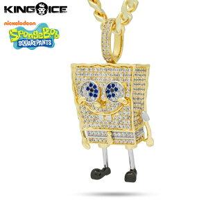 """King Ice×SpongeBob SquarePants キングアイス スポンジ・ボブ ネックレス ゴールド ジルコニア ホワイトストーン """"XL Spongebob"""" 人気ブランド アクセサリー 金メッキ メンズ レディース 男女兼用 送料"""