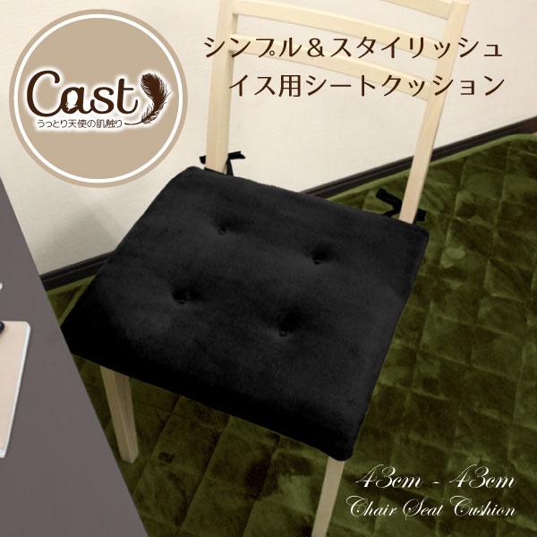 クッション シートクッション 43×43cm Cast ブラック 黒色 洗える スクエアクッション 座布団 椅子用 イス用 車 ひも付き 無地 おしゃれ かわいい 可愛い 四角 フロア ソファーにも 腰痛対策にも キャスト 新生活 オフィスにも bn