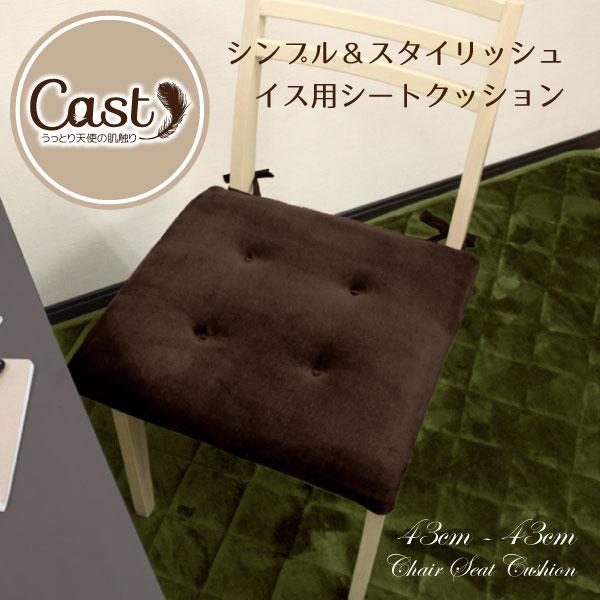 クッション シートクッション 43×43cm Cast ブラウン 茶色 洗える スクエアクッション 座布団 椅子用 イス用 車 ひも付き 無地 おしゃれ かわいい 可愛い 四角 フロア ソファーにも 腰痛対策にも キャスト 新生活 オフィスにも bn