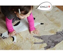 2畳ラグ送料無料ふわっとなめらか肌触り猫柄フランネルラグ・カーペットお昼寝ねこ185cm×185cmベージュラグマットホットカーペットカバーこたつ敷き