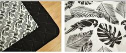 ラグラグマット約180×180cm2畳サイズ綿混キルトラグペリコ洗えるリーフ南国トロピカルバードおしゃれかわいい可愛いアジアンホットカーペット対応オールシーズン春夏秋冬正方形