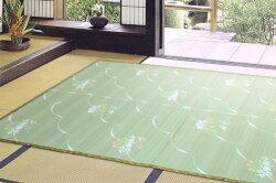 爽やかに足もとを彩るい草風上敷きPPカーペット日本製五八間6帖264cm×352cmサザンカ