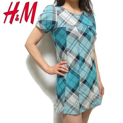 ■【驚きの価格なんと990円!】H&M エイチアンドエム★チェック柄コットンワンピース ブルー系★新品!SALE♪■【YDKG-tk】