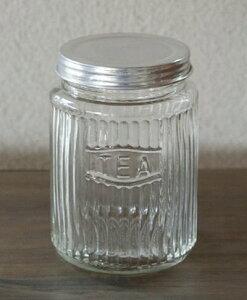 【 ストライプジャー TEA 】カントリー雑貨・ビン・瓶ガラス・HOMESTED・小物入れかわいい・可愛い・プレゼントレトロ・駄菓子ビン