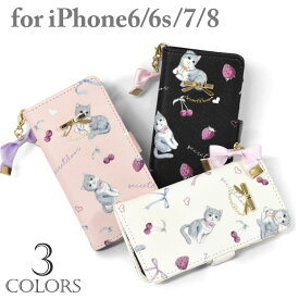 74f942f609 フェイクレザー リボンチャーム付き 猫 総柄 手帳型 iPhoneケース /レディース レザー 合成