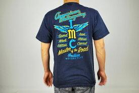 【クーポン対象】INDIAN MOTORCYCLE インディアン モーターサイクル 米国製 I M C プリント 半袖 Tシャツ NAVY ネイビー IM77952-L tシャツ ミリタリー