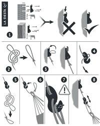 ハンモック取り付け用セットロープ長さ3m&取り付け用器具【LaSiesta正規品・製品保証付】ハンモック設置ロープ3メートル取り付け