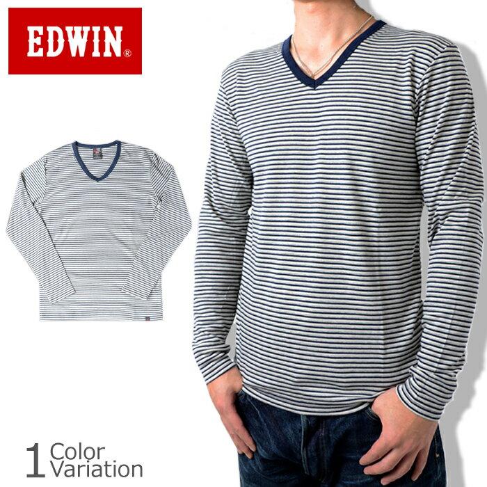 EDWIN(エドウィン) BODY FIRE Vネック ボーダー 長袖Tシャツ #57135