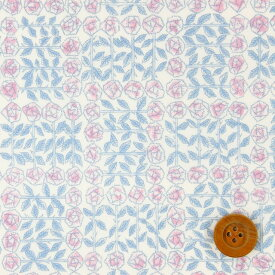 【サンドウオリジナルカラー】リバティプリント タナローン生地(Sleeping Rose シャーベットピンク)スリーピング・ローズ【3630275・J19D】