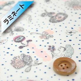 【サンドウ限定復刻色】リバティプリント タナローン【ラミネート加工】(Memories of Rain ピンク&ブルー)メモリーズ・オブ・レイン【10-3630277・10B】