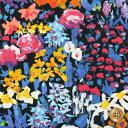 リバティプリント タナローン455(Painter's Meadow/ブルー&ブラック)ペインターズ・メドウ