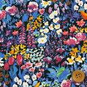 リバティプリント タナローン456(Small Painter's Meadow/ブルー&ブラック)スモール・ペインターズ・メドウ