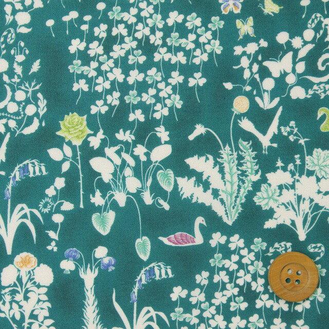 リバティプリント タナローン92(Yoshie ヨシエ)ディープブルーグリーン