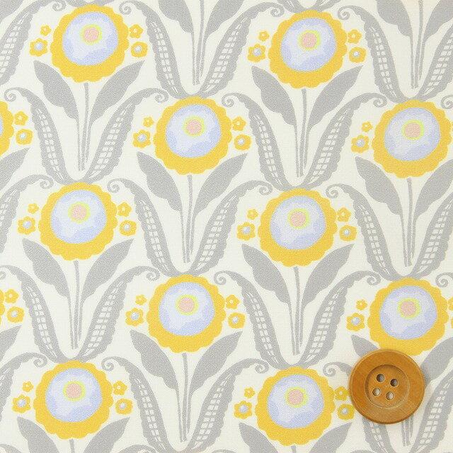 リバティプリント タナローン677(Sunflower Bloom イエロー&グレー)サンフラワー・ブルーム【18-3638135】