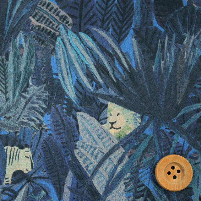 リバティプリント タナローン696(Jungle Tapestry ジャングル・タペストリー)ブルー【18-1228158】