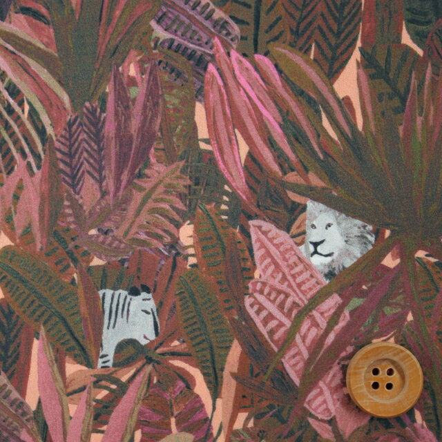 リバティプリント タナローン696(Jungle Tapestry ジャングル・タペストリー)ピンク【18-1228158】