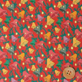リバティプリント タナローン(Sparkling Bells スパークリング・ベルズ)レッド【DC30371・J19A】