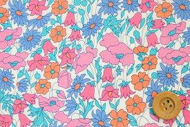 リバティプリント タナローン生地(Poppy&Daisy ポピー&デイジー)ピンク&ブルー【3632104】