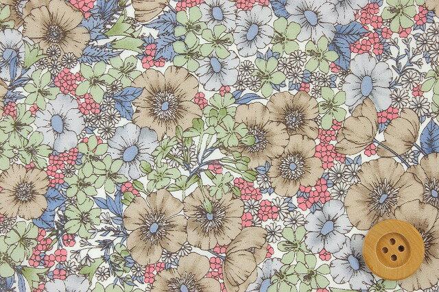 リバティプリント タナローン(Gloria Flowers グロリア・フラワーズ)ブラウン&グリーン【DC10480・ZE】