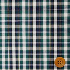 リバティプリント【先染タナローンチェック】(Tartan Check タータン・チェック)グリーン&ホワイト 【3265100・2】