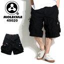 送料無料! MOLECULE モレキュール ミリタリー ハーフパンツ ブラック 45020 メンズ カーゴパンツ 6ポケット カーゴ ハーフ ショート ミリタリーパンツ 半ズボン パンツ ズボン だぼ