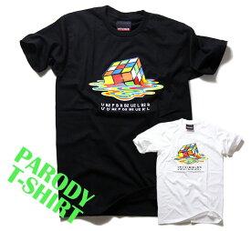 パロディ Tシャツ おもしろ 半袖 Melting Rubik's Cube ルービックキューブ メンズ レディース ユニセックス デザインTシャツ おしゃれTシャツ ネタTシャツ 個性的 半袖 トップス 夏 おみやげ プレゼント コットン100% M-L 白 黒