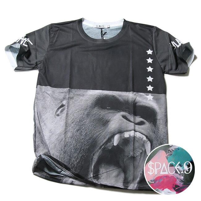SPACE9 デザインTシャツ ゴリラ メンズ 夏用 コットン100% M-L【グラフィックTシャツ メンズ デザインTシャツ クラブファッション ストリート系 アニマルプリント 動物プリント】