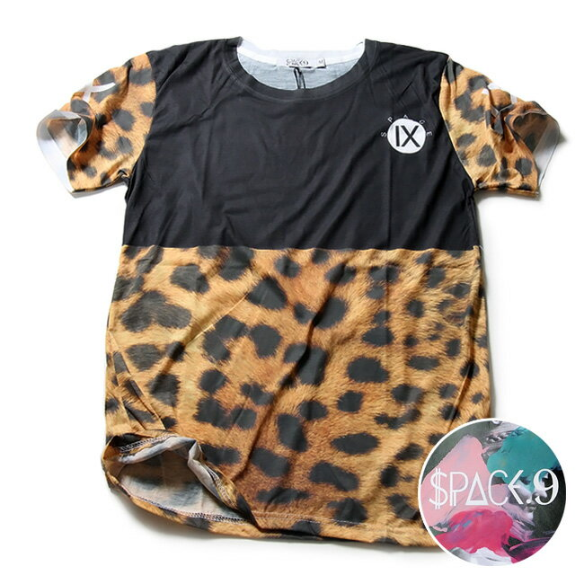 SPACE9 デザインTシャツ LEOPARD 豹柄 メンズ 夏用 コットン100% M-L【グラフィックTシャツ メンズ デザインTシャツ クラブファッション ストリート系 アニマルプリント 動物プリント】