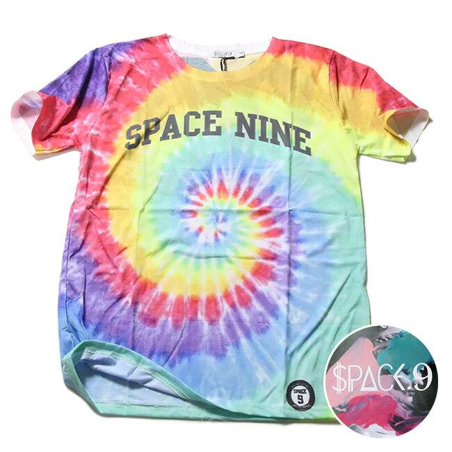 SPACE9 デザインTシャツ TIE DYE柄 たいだい柄 渦巻き メンズ 夏用 コットン100% M-L【グラフィックTシャツ メンズ デザインTシャツ クラブファッション ストリート系 アニマルプリント 動物プリント】