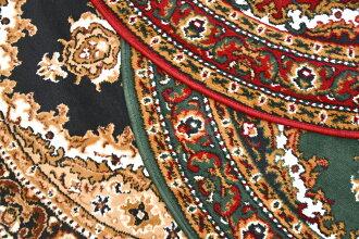 ラグ円形丸ラグマット100カーペットベルギー絨毯おしゃれクラシッククラシカルレッドグリーンブラック赤緑黒アンティーク円【商品名シラズ1020】100cm