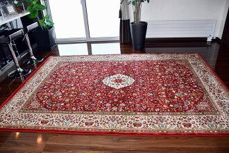 カーペット3畳絨毯75万ノットじゅうたんラグ絨毯おしゃれ極美ウィルトン織エジプトグリーンレッド赤緑花柄厚手【品名MAJESTY21444】約3畳200x250cm