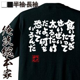 tシャツ メンズ 俺流 魂心Tシャツ【食いすぎたってせいぜい太るだけだよ。何を恐れているんだ】 ダイエット 文字 メッセージtシャツ おもしろ雑貨|でぶのもと 面白 大きいサイズ プレゼント バックプリント 文字入り 外国人 お土産 ティーシャツ 日本語