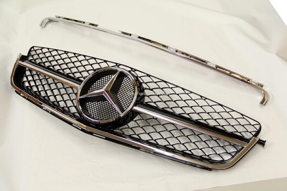 メルセデスベンツ Cクラス W204 C63後期スタイル 2PCフロントグリル 黒 (ブラック) C180 C200 C230 C250 C300