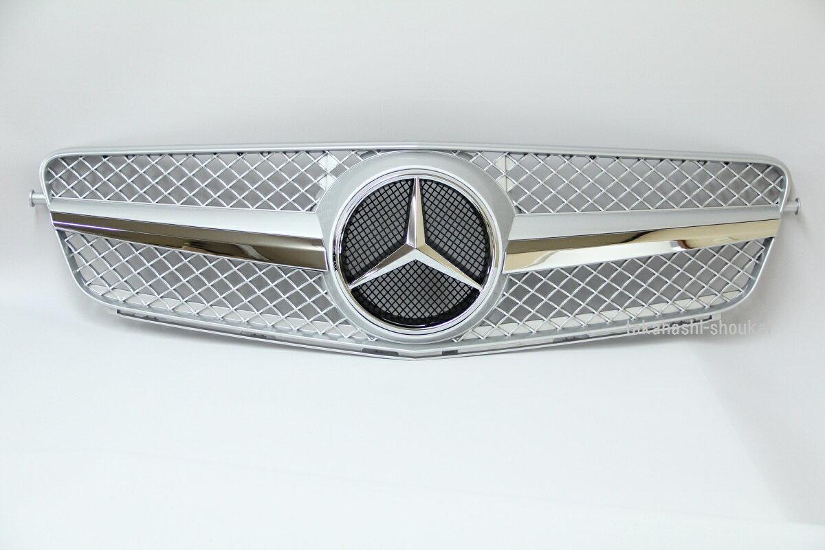 【組立完成品出荷】メルセデスベンツ Cクラス W204 SLスタイル フロントグリル 銀 (755:シルバー) C180 C200 C230 C250 C300