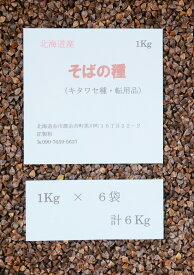 『そばの種』 そばの種子 6Kg(約300坪用) タネ 蕎麦の種 北海道産 転用品 キタワセ種 【送料無料】