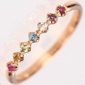 【お見積り商品】幸せの七色天然石アミュレットリング 7石 指輪 レディース ニッケルフリー 10金 18金ゴールド 地金カラー全3色 1号から20号 yk-38-am お返し