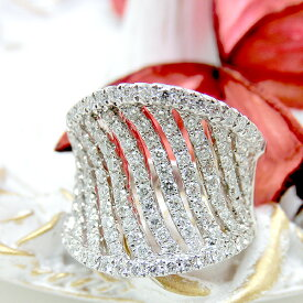 リング K18(18金) WG ホワイトゴールド ダイヤモンド 指輪 s01162832 レディース ジュエリー 天然石 宝石 ダイヤモンド 透かし 1点もの 4月誕生石 ユニーク デザイン 新品