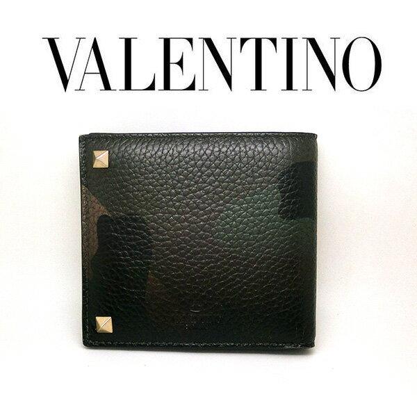 VALENTINO 二つ折り財布 迷彩柄 スター キャンバス レザー バレンチノ ヴァレンティノ ガラヴァーニ 星 カモフラージュ柄 本革 財布 レディース メンズ my2p0545gacu41 (t707) 45776195 卒業祝 入学祝