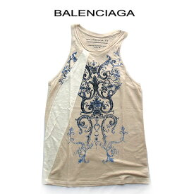 バレンシアガ ノースリーブ タンクトップ ベージュ Tシャツ BALENCIAGA レディース ブランドアパレル サイズ M ブルー 訳あり sale トップス 保管時のたたみじわあり アパレル(bkp50)アメリカンスリーブ アメスリ