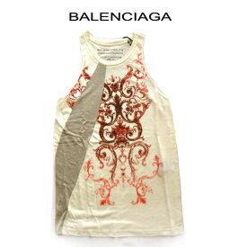 バレンシアガ ノースリーブ タンクトップ ベージュ Tシャツ BALENCIAGAレディース ブランドアパレル タンクトップ サイズ S M 赤 訳あり sale トップス 保管時のたたみじわあり アパレル(bkp50)アメリカンスリーブ アメスリ リネン (e)