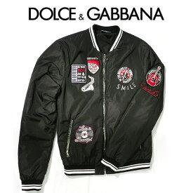 ドルガバ ジャンバー ドルチェ&ガッバーナ アウター Dolce&Gabbana メンズ ブルゾン D&G イタリア製 ブラック 黒 ブランド アパレルMA-1 フライトジャケット スタジャン スカジャン (e)