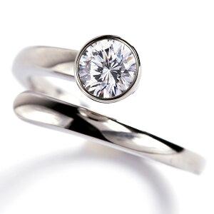 スワロフスキージルコニア 一粒 スパイラルリング 指輪 レディース 88facet Swarovski 低アレルギー素材 ステンレス316L SUS316L w1s35-sw001 (ND)