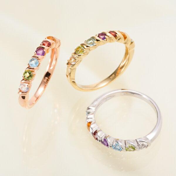 【お見積り商品】【天然石が選べる】7石 7色アミュレットリング 指輪 レディース ニッケルフリー 10金ゴールド 地金カラー全3色 1号から20号 yk-157 K10(TGS2) 波 ウェーブ (e)