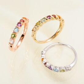 【お見積り商品】【天然石が選べる】7石 7色アミュレットリング 指輪 レディース ニッケルフリー 10金ゴールド 地金カラー全3色 1号から20号 yk-157 K10(TGS2) 波 ウェーブ
