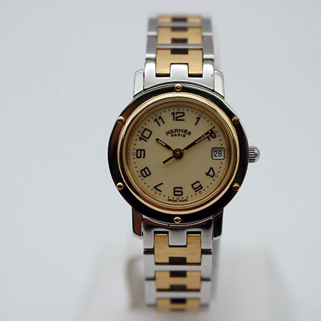 【HERMES】エルメスSS/GPクリッパー レデイース腕時計CL4.220/アイボリー 【中古】