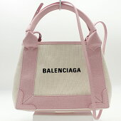 【BALENCIAGA】バレンシアガトートバッグネイビーカバスXS390346/キャンバス地/ピンク×ナチュラル【新古品・未使用】