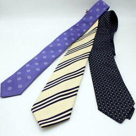 【ネクタイ】 水玉・ストライプ シルク/黄・紫・黒【中古】