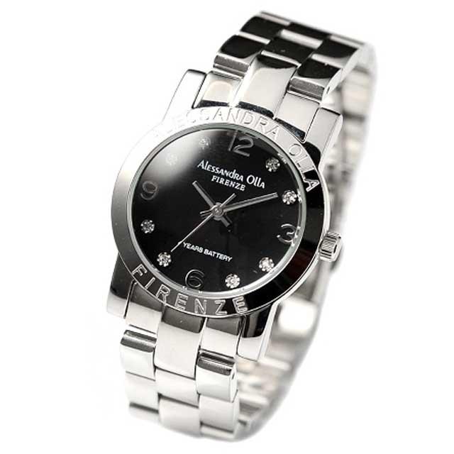 Alessandra Olla(アレッサンドラ オーラ) レディース腕時計 AO-711 ブラック 新品
