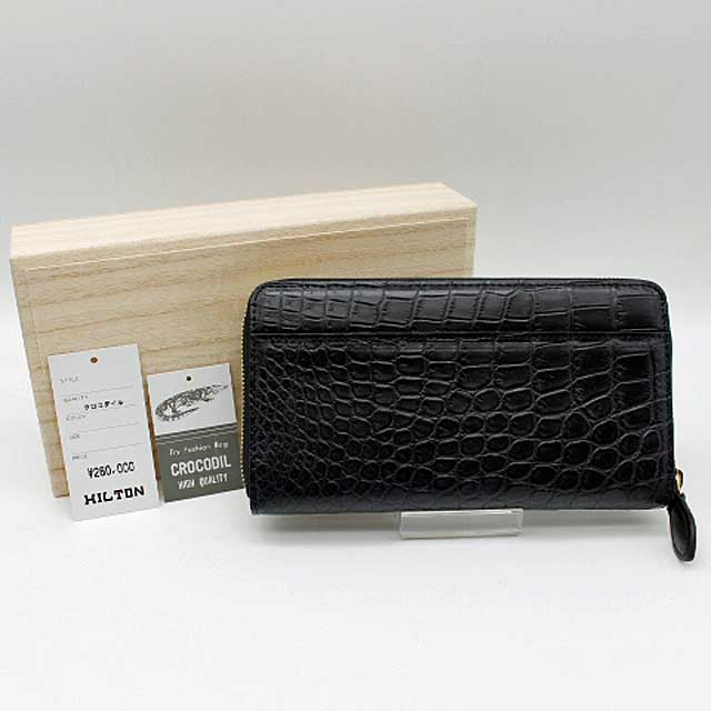 【クロコダイル】マットクロコラウンドファスナー長財布ブラック【新品・未使用】