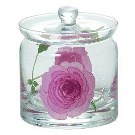 【あす楽】イングリッシュローズ ガラス 蓋付ポット (S) ピンク 46P094